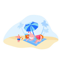 happy young family characters relaxing on beach vector image
