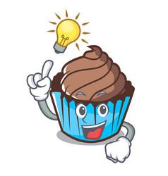 have an idea chocolate cupcake mascot cartoon vector image