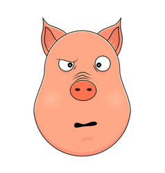 head of confused pig in cartoon style kawaii vector image
