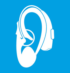 Hearing aid icon white vector