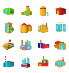 Industrial building plants and factories icons set vector image