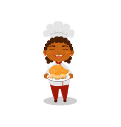 laughing afro-american kid holding plate with vector image