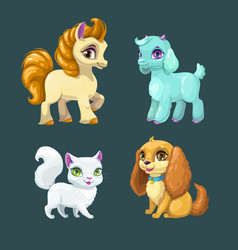 little cute pets vector image