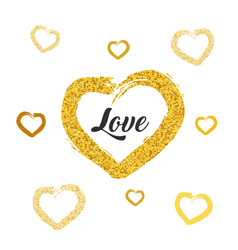 love card design gold glitter heart shapes on vector image vector image
