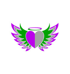 love heart wing freedom logo vector image