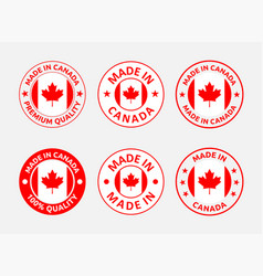 made in canada labels canadian product emblems vector image