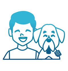 man with dog cartoon vector image