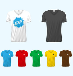mens v-neck t-shirt design template front back vector image