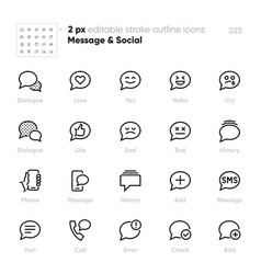 message outline icons chat dialogue text vector image