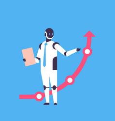 modern robot holding financial arrow up finance vector image