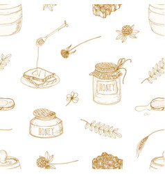 monochrome seamless pattern with honey dipper vector image