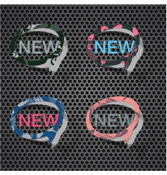 New product promotion splattered icon set vector