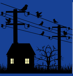Night landscape with house and electric pole with vector