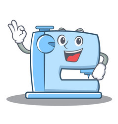 Okay sewing machine emoticon character vector