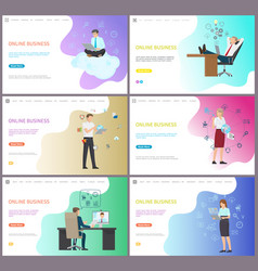 online business for companies and investors set vector image