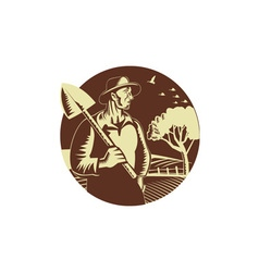 Organic Farmer Holding Shovel Farm Circle Woodcut vector