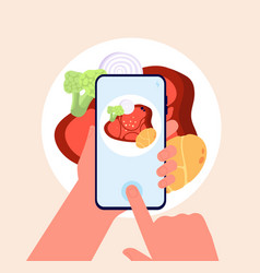 Phone food photo taking mobile photos hands hold vector