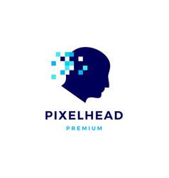 pixel head digital think logo icon vector image
