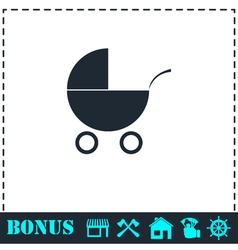 Pram icon flat vector image