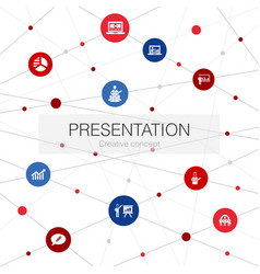 Presentation trendy web template with simple icons vector