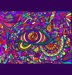 Psychedelic shamanic eye with colorful bizarre vector