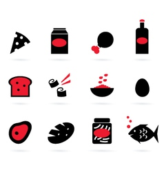 retro food icons set isolated on white - black vector image