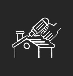 roof constructing chalk white icon on black vector image