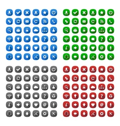 Rounded square long shadow style icons vector