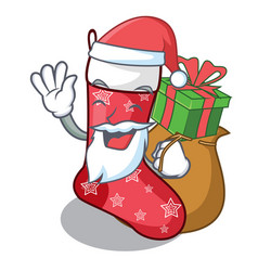 santa with gift cute christmas socks isolated on vector image