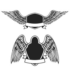 Set empty emblems with wings design vector