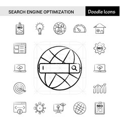 Set of 17 search engine optimization hand-drawn vector