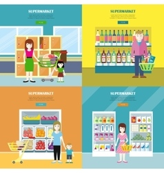 Set of Supermarket Concept Banners in Flat Design vector image