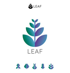 simple natural leaf logo icon abstract purple and vector image