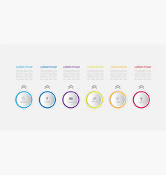 Six steps infographics with main option business vector