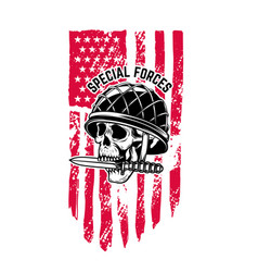 skull in military helmet with knife in teeth vector image