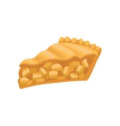 Slice of delicious charlotte pie freshly baked vector