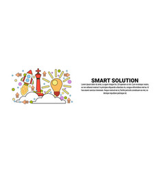 smart solution business concept horizontal web vector image