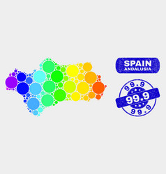 Spectral mosaic andalusia province map and vector