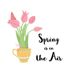 spring is in air text decorated hand drawn vector image