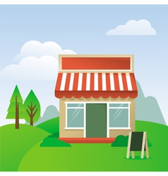 Store house with striped awning vector
