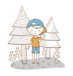 Stylish boy cartoon outfit nature background vector