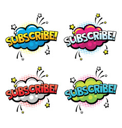 Subscribe word for comics blogging streaming and vector