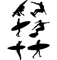 Surfers silhouette vector