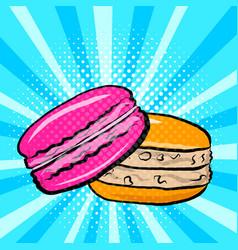 sweet macaroons in pop art vector image