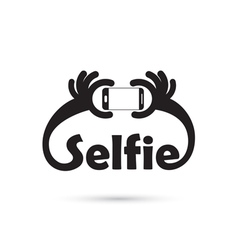 Taking selfie portrait photo on smart phone vector