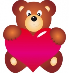 teddy bear with heart vector vector image