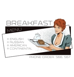 The waitress delivers breakfast Template adv vector