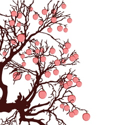 tree with red apples color vector image
