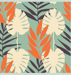 tropical leaves seamless pattern repeat vector image