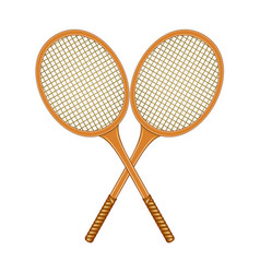 Two crossed tennis rackets in vintage design vector
